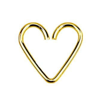 Gold Plated Sterling Silver Daith Heart 1mm x 12mm (5)
