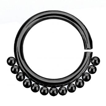 ANNEALED Septum Ring Black Beaded (5) 1.2x8mm