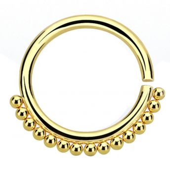 ANNEALED Septum Ring Gold Beaded (5) 1.2x10mm