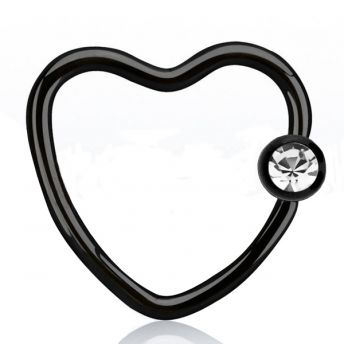 ANODISED Daith Heart BCR Black With Clear Crystal (5) 1.2mm