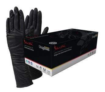 Select Black LONG CUFF Latex Gloves XS