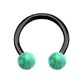 ANODISED TITANIUM Circular Barbell Green Opal (1) 1.2x12mm
