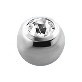 TITANIUM Jewelled Balls (Clear Crystal) (2) 1.6x6mm
