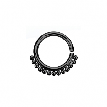 Annealed Stainless Beaded Septum Ring 1.2mm - Black