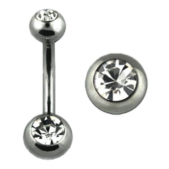 Stainless Double Jewelled Naval Bars (Clear) 1.6mm