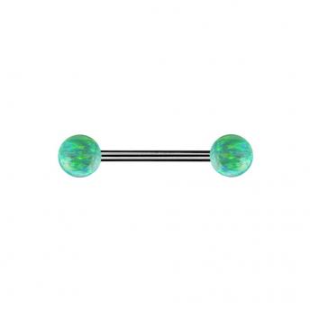 Double Opal Titanium Barbells 1.6mm - Green