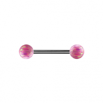 Double Opal Titanium Barbells 1.6mm - Pink