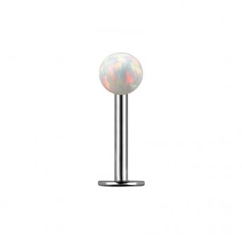 Opal Titanium Labret Studs 1.2mm - White