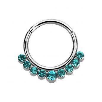 Stainless Septum Ring Blue Zircon Crystal 1.2mm