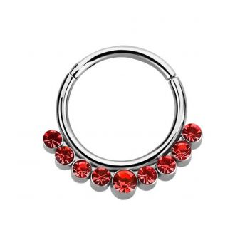 Stainless Septum Ring Hyacinth Crystal 1.2mm